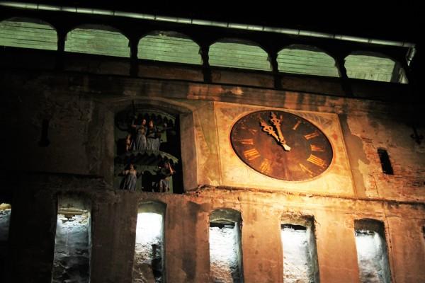 Singhisoara nocą. Słynna wieża siedmiogrodzka